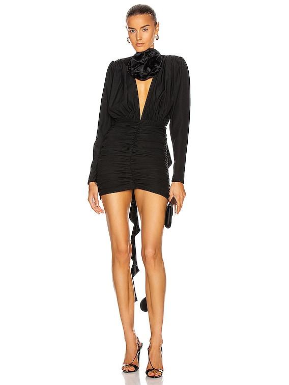 Ruched Mini Dress in Black