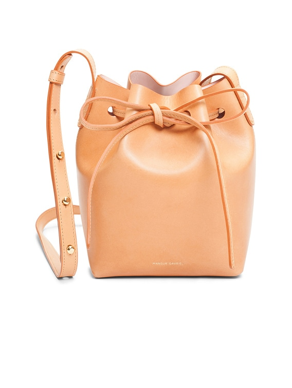 Mini Mini Bucket Bag in Cammello & Rosa