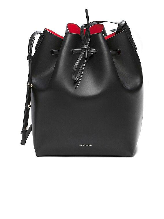 Coated Large Bucket Bag in Black & Flamma