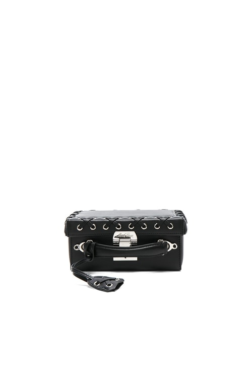 Grace Small Box Bag in Black Lacing Smooth Calf