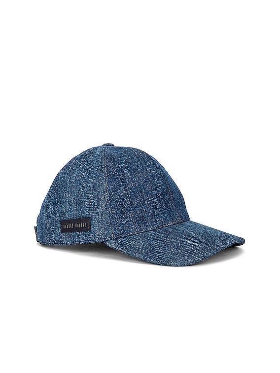 Denim Baseball Hat in Bleu