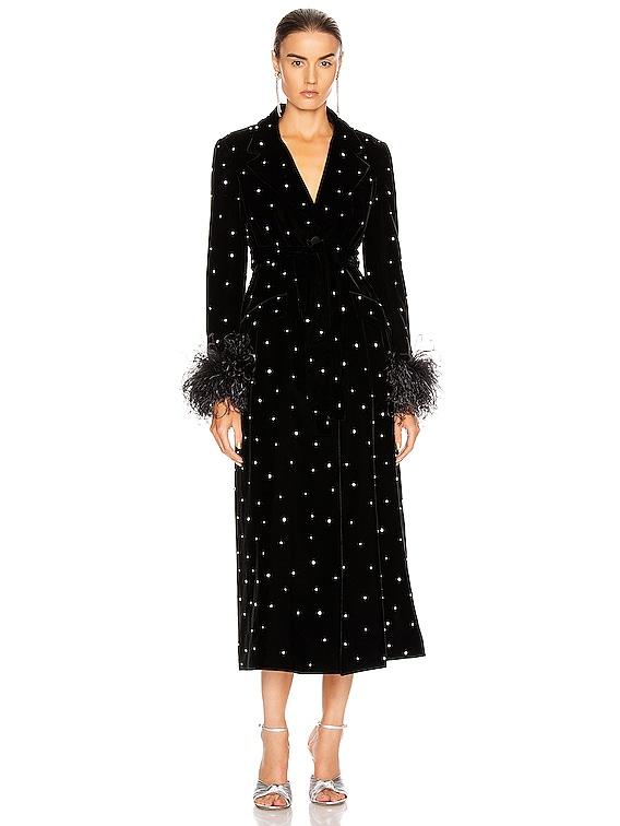 Velvet Embroidered Long Jacket in Black