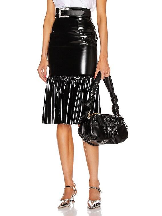 Ruffle Midi Skirt in Nero