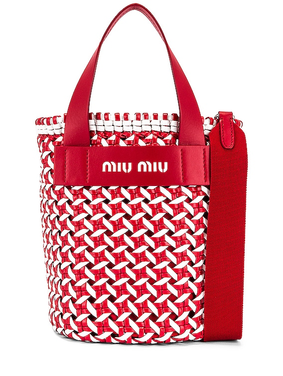 Straw Bucket Bag in Red & White