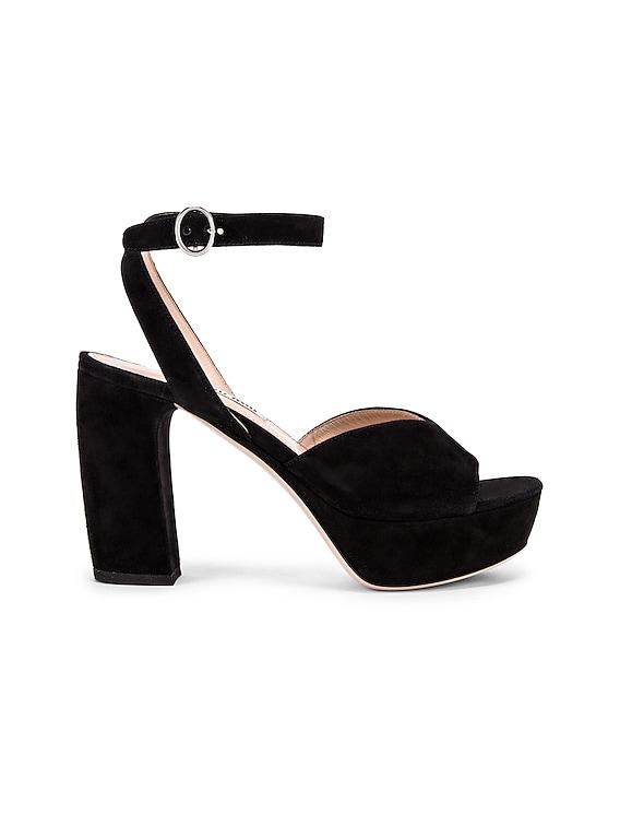 Platform Ankle Strap Sandals in Black
