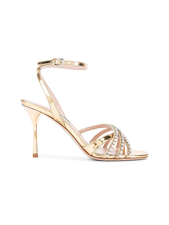Jewel Ankle Strap Heels in Gold