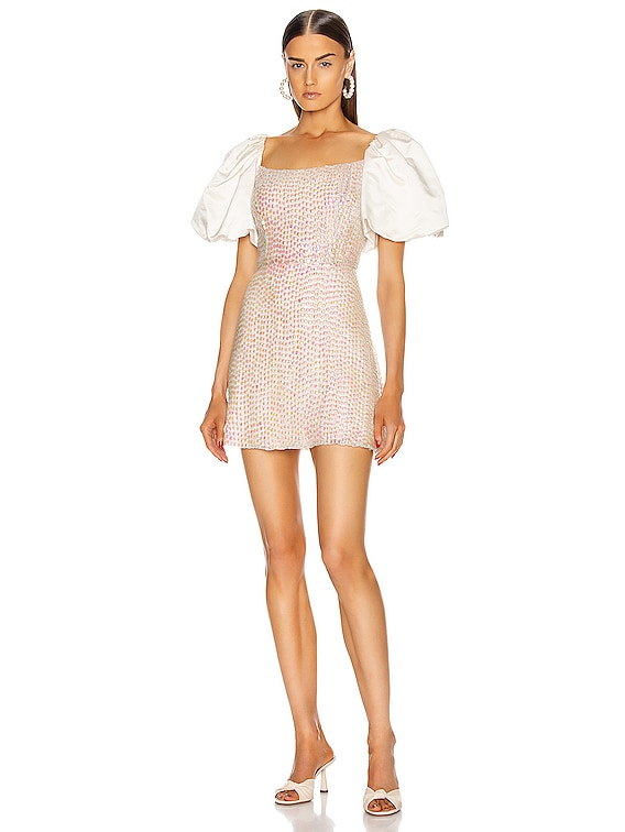 Cupid Puff Sleeve Sequin Mini Dress in Opal