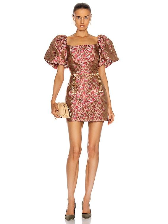 Camille Puff Sleeve Mini Dress in Pink Brocade