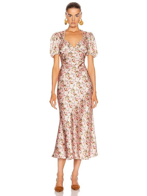 Titian Bias Dress in Blush Floral