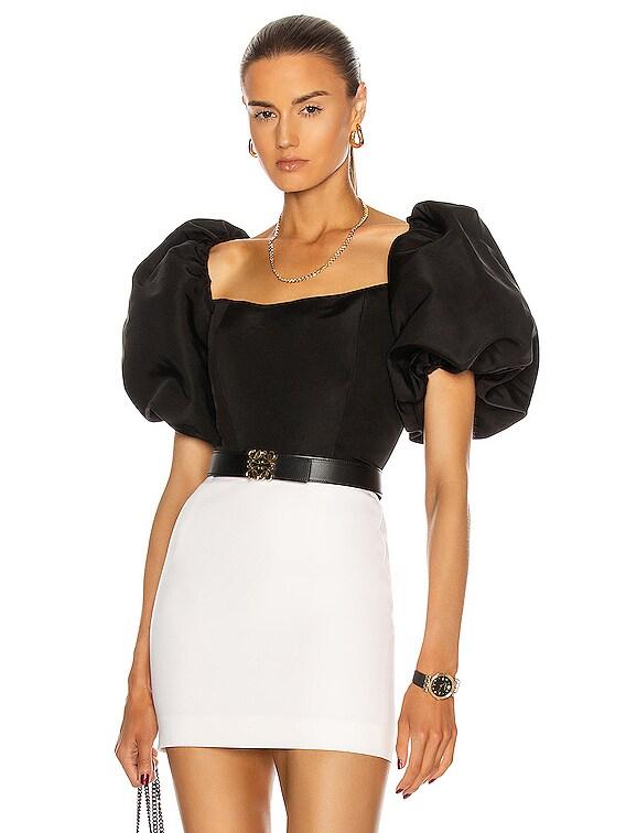 Eva Puff Sleeve Top in Black