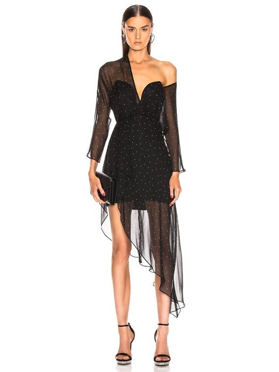 Bustier Off Shoulder Dress in Black