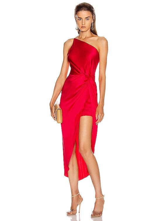 for FWRD Twist Knot Midi Dress in Peony