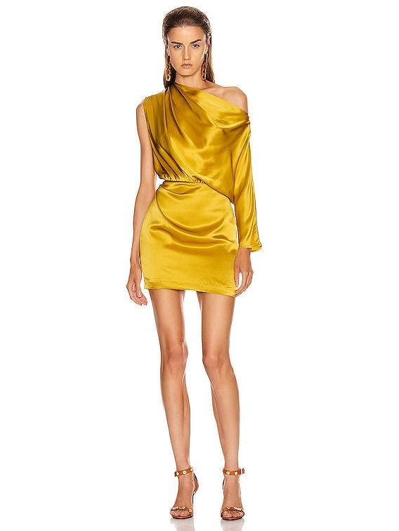 One Sleeve Draped Mini Dress in Dijon