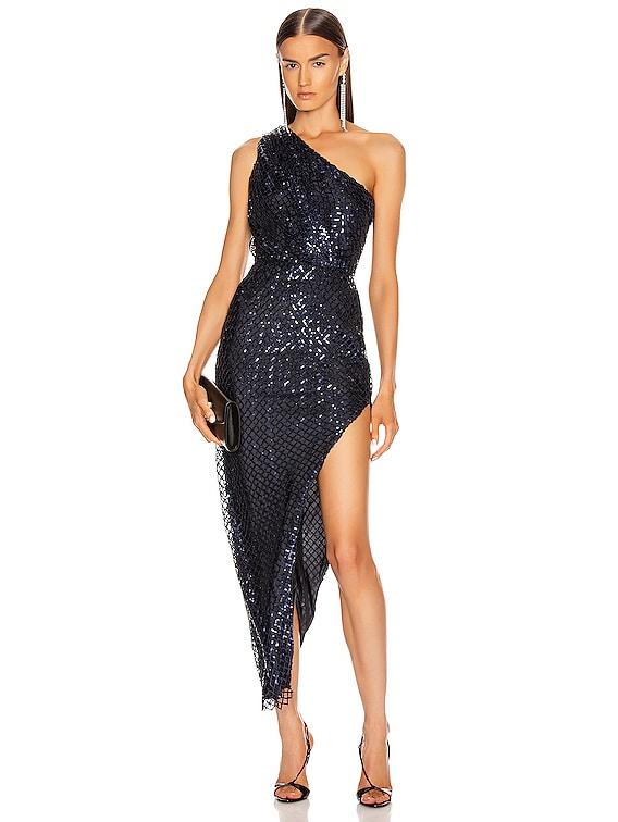 One Shoulder Dress in Midnight