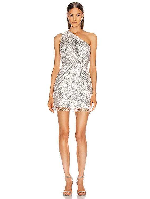 One Shoulder Mini Dress in Platinum