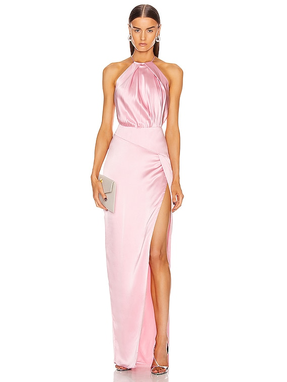 Pleat Halter Gown With Slit in Petal