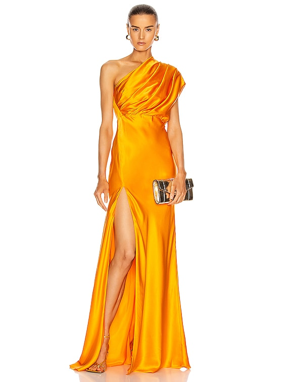 Asymmetrical Gathered Gown in Mango