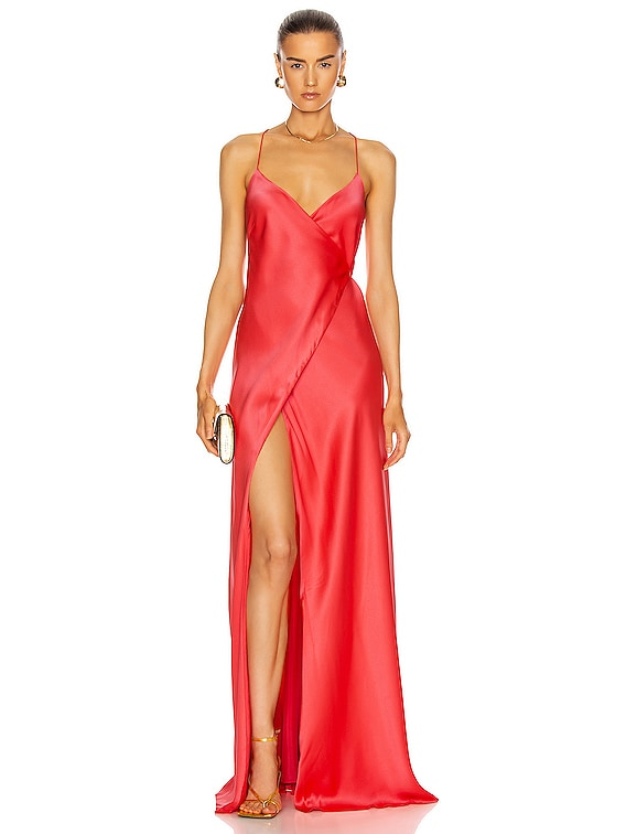 Strappy Wrap Gown in Punch