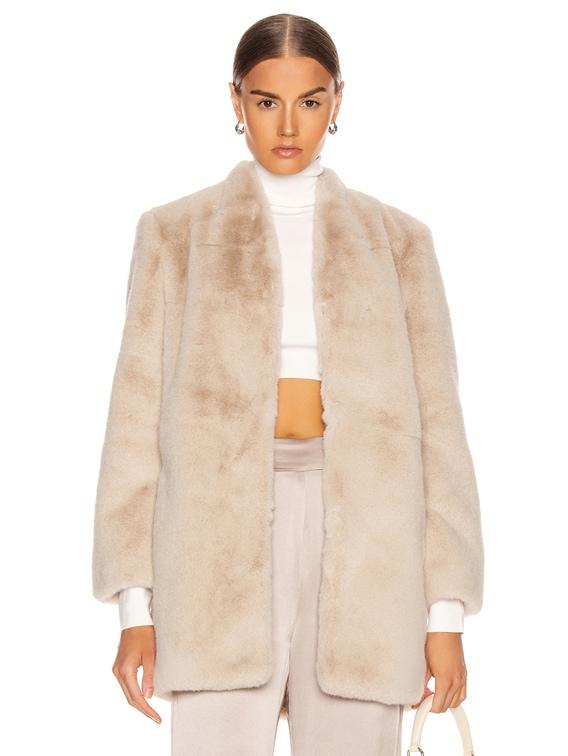 Faux Fur Car Coat in Oyster
