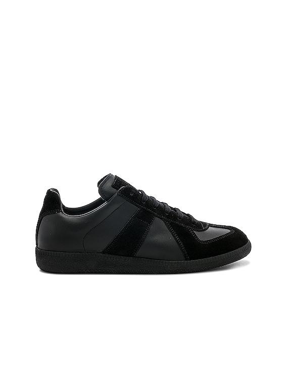 Soft Leather & Velour Replica Sneakers in Black