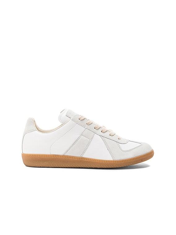 Replica Calf & Lambskin Leather Sneakers in White