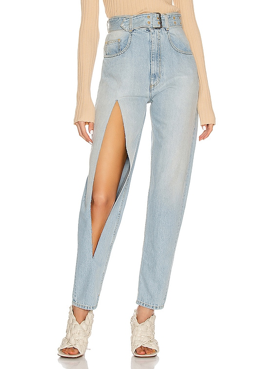 Belted Slit Jean in Super Bleach