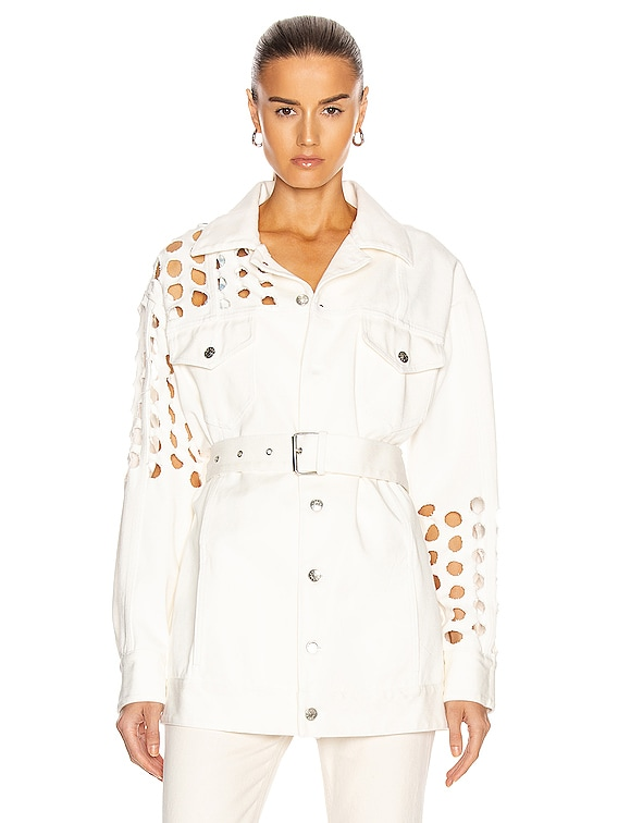 Cutout Long Sleeve Belted Jacket in White