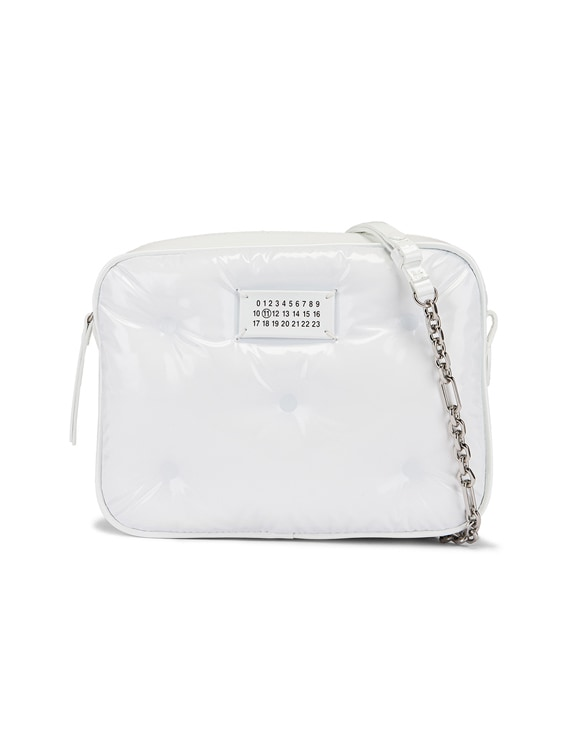 Glam Slam Tufted Chain Crossbody Bag in White