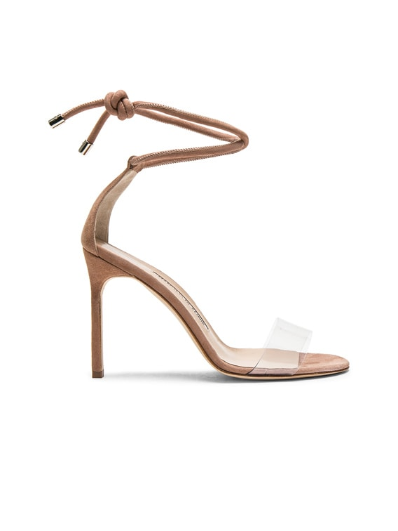 105 Suede Estro Sandals in Rose Nude Suede