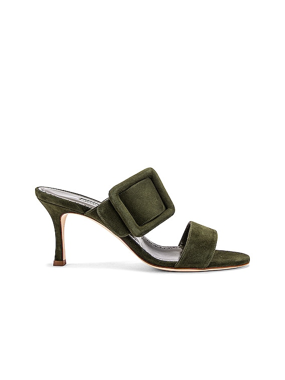 Gable 70 Suede Sandal in Military Green