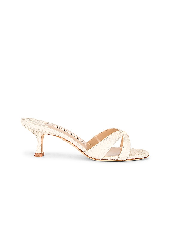 Calla 50 Snake Mule in Cream