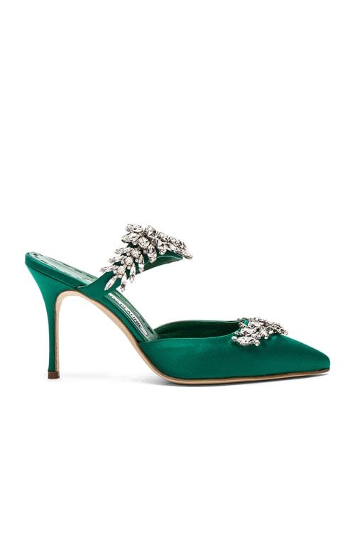 Satin Lurum 90 Heels in Emerald Green Satin