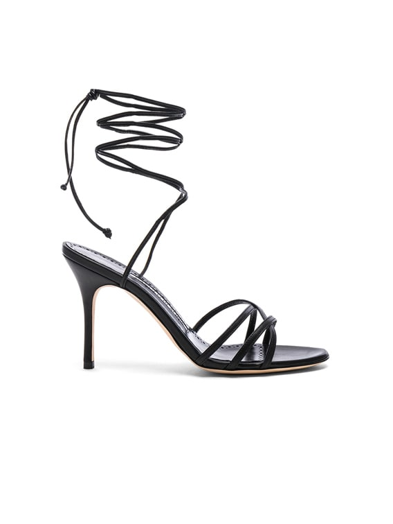 Leather Leva 90 Sandals in Black Nappa
