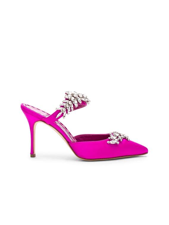 Satin Lurum 90 Heels in Bright Pink