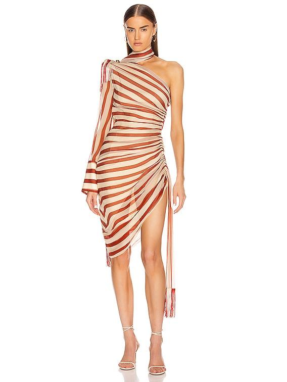 Regalia Scarf Dress in Rust & Ecru