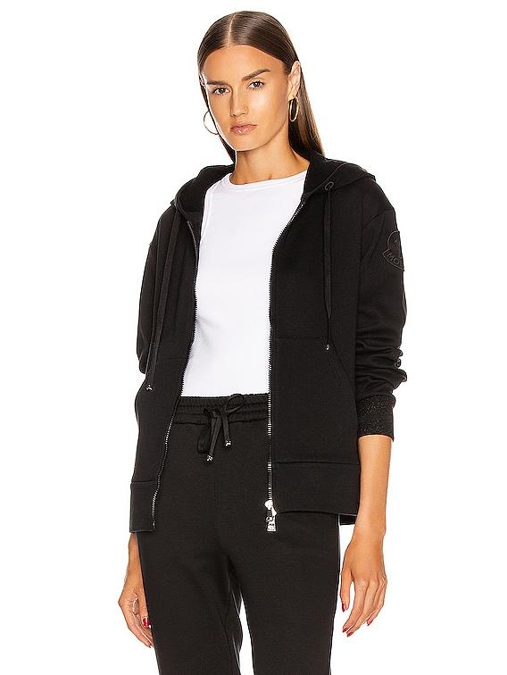 Maglia Cardigan Zip Up Hoodie in Black