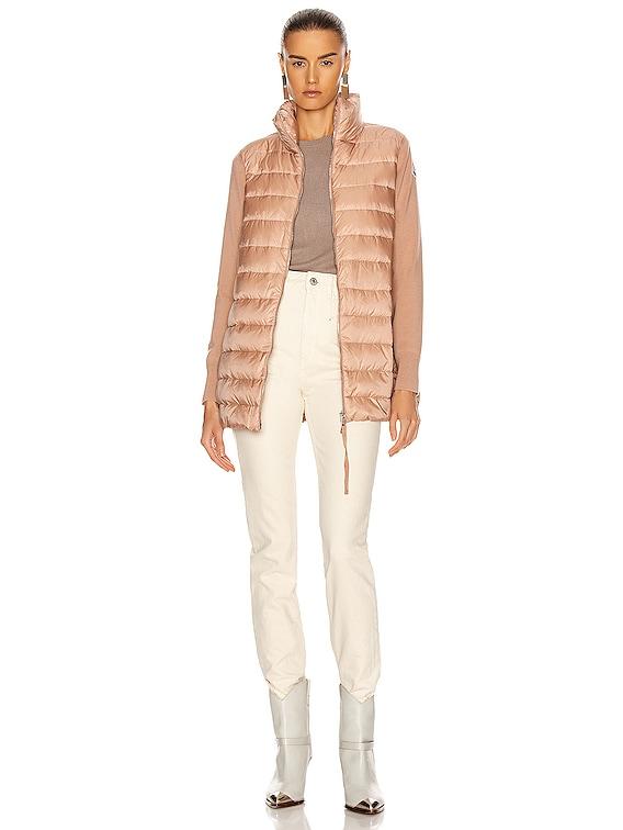 Long Cardigan Tricot Jacket in Dark Pink