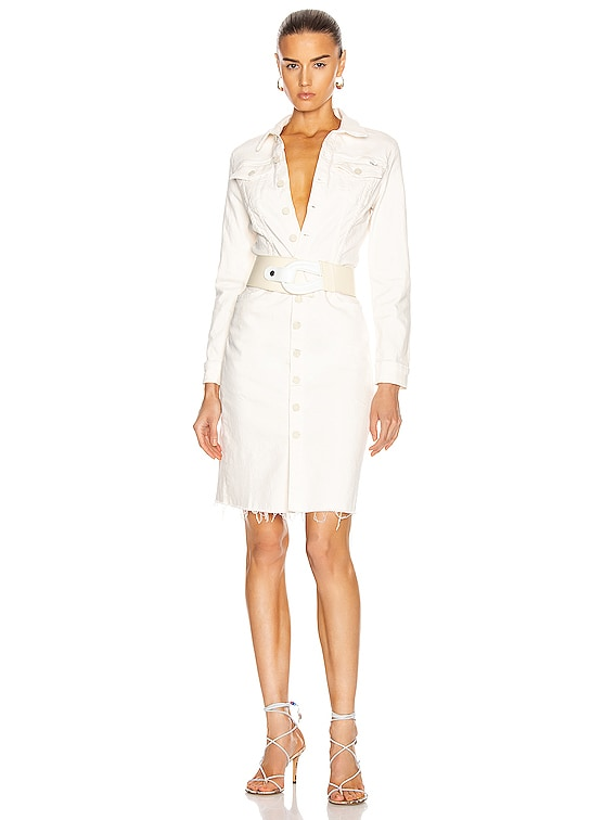 Cover Up Knee Fray Dress in Cream Puffs