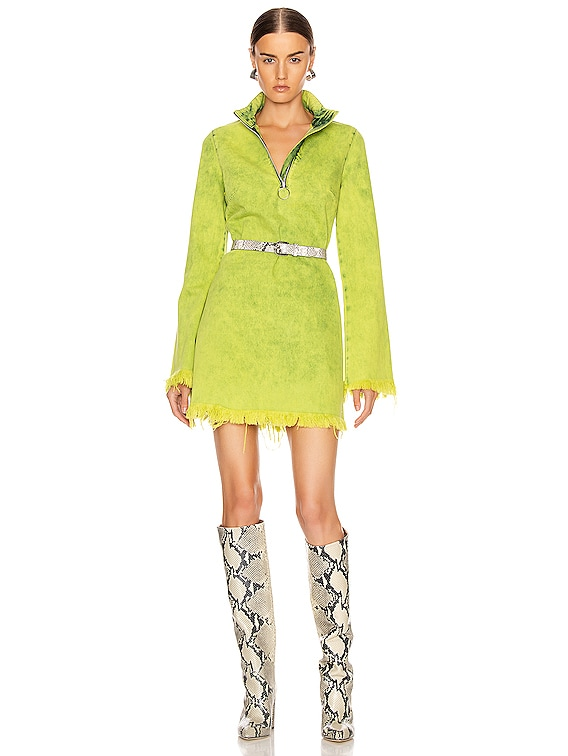 Classic Long Sleeve Short Dress in Lime