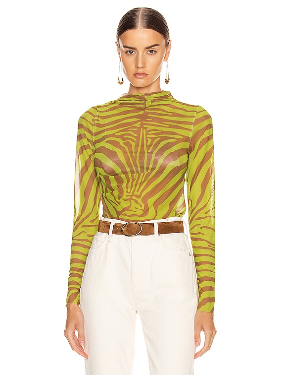 Printed Drape Neck Mesh Top in Zebra Lime & Brown