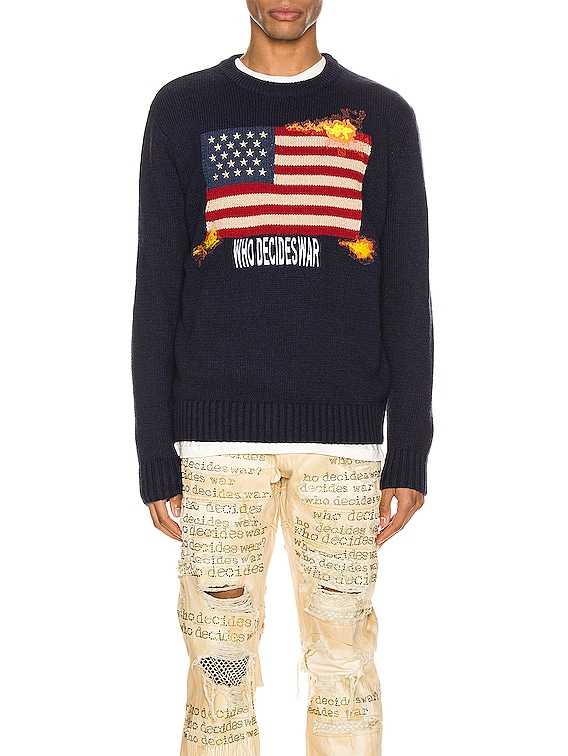 Who Decides War Knit Pullover in Navy