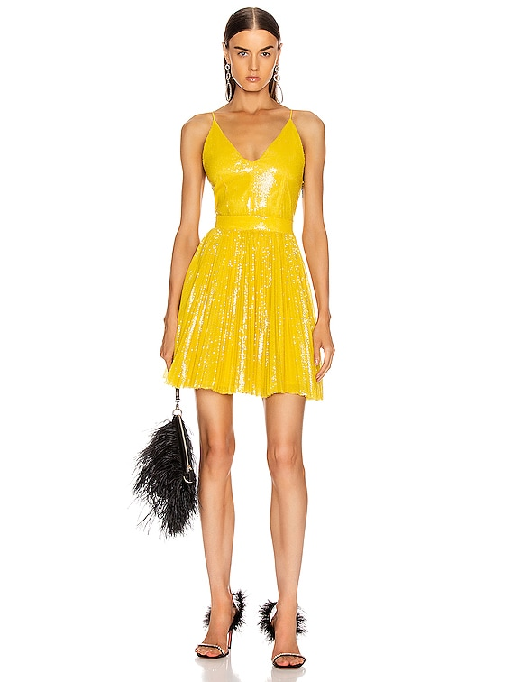 Sequined Pleated Mini Dress in Yellow