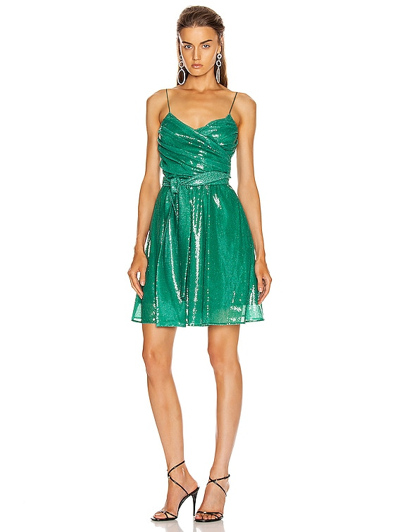 Sequined Ruched Mini Dress in Green