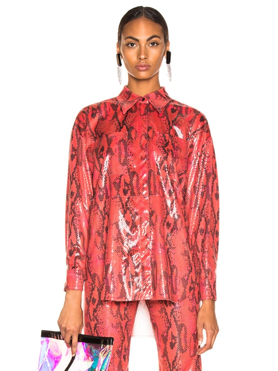 Snakeskin Button Down Top in Red