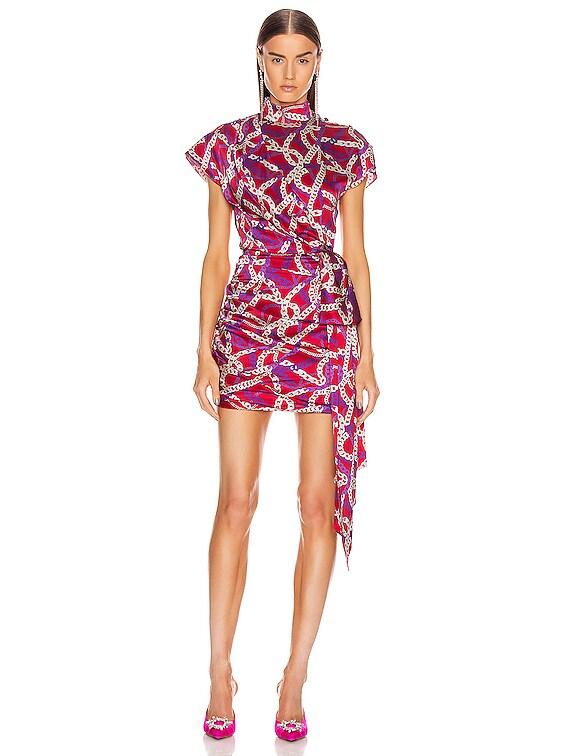 Ruched Side Mini Dress in Fuchsia Chain Print