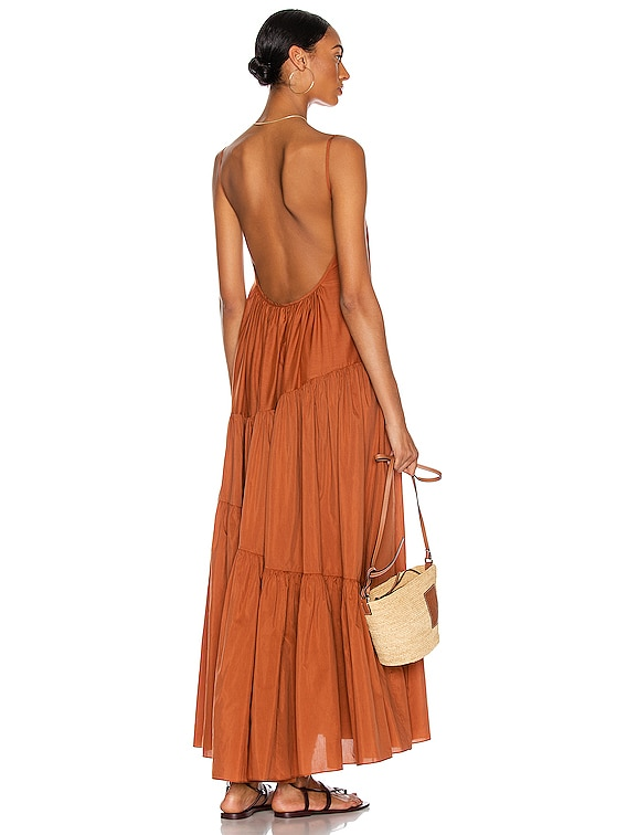 Asymmetric Tiered Sun Dress in Toffee
