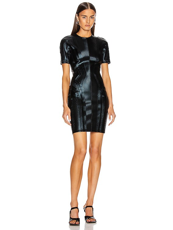 Short Sleeve Embossed Mini Dress in Black
