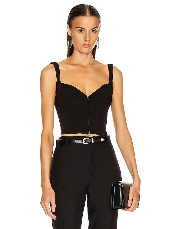 Zipper Bustier Top in Black
