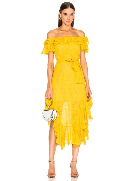 Sofia Embroidered Dress in Saffron Yellow