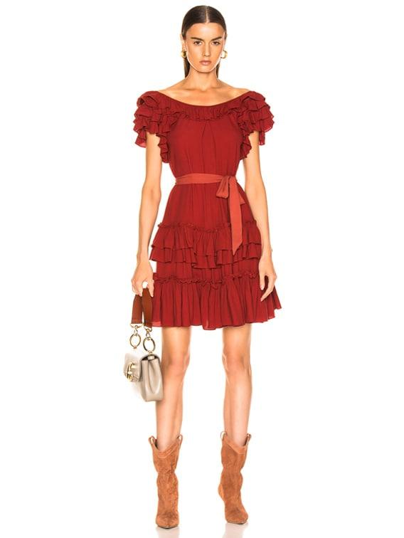 Elio Crepe Mini Dress in Spiced Red